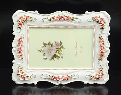 """4""""x6"""" inch pink color flower Handmade single table top photo frame NEW vintage"""