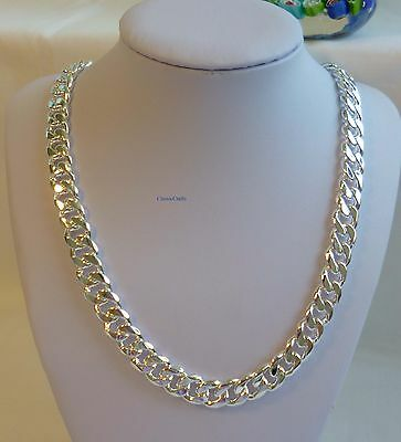 Thick 925 silver filled men curb chain heavy necklace(L20,22,24inches W10mm)