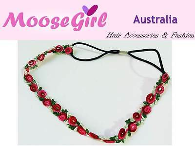 Lace Pink Red Roses Flower Elastic Headband Woman Stretch Hair Band Head Wrap