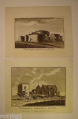 2 x alter Kupferstich Winchelsea Castle + Winchelsea Church in Sussex
