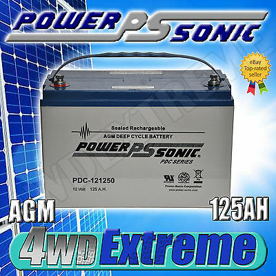 125Ah 12V 12 Volt Agm Battery Powersonic Deep Cycle 120Ah Pdc121200 - Pdc121250