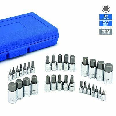 """3/8"""" 1/2"""" Dr Drive Allen Wrench Bit Kit Hex Key Socket Tool Sae And Metric Set"""