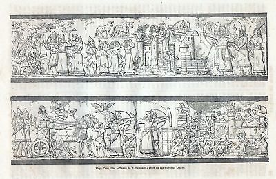 Old print Assyrian bas relief Louvre 1863 Assyria  c12
