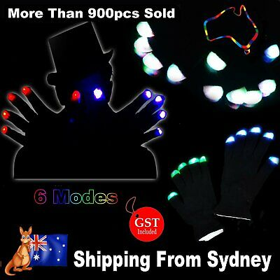 2x Rainbow Flow Black LED Light Gloves 6 modes Rave Party Glow in the dark Night
