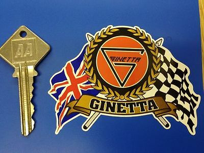 GINETTA chequered & UK Flags & Scroll style car sticker