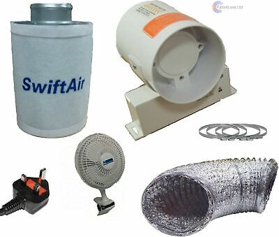 """4"""" 5"""" 6"""" Carbon Filter Hydroponic Extract Fan Tent Grow Room Ventilation Kit"""