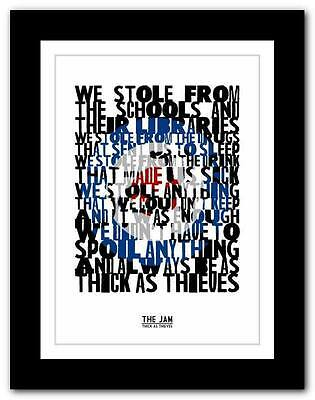 ❤ THE JAM Thick As Thieves ❤ song lyrics typography poster art print - A1 A2 A3