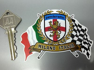 LAMBRETTA MILANO Garland Shield and crossed Italian and Chequered Flags sticker