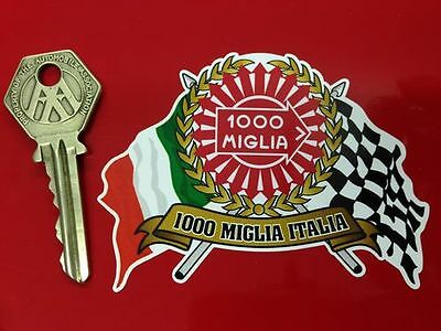 MILLE MIGLIA 1000 Flags & Scroll classic car sticker