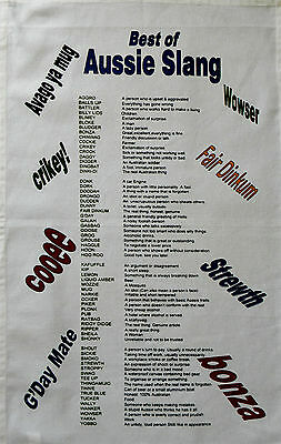 Australian Souvenir Kitchen Tea Towel Aussie Slang & Meanings Australia