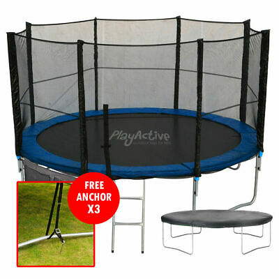 12FT Trampoline With FREE Safety Net Enclosure, Ladder, Rain Cover, + Shoe Bag