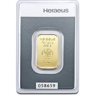 Lingot or 10 grammes or pur 24 carats 999,9/1000 Heraeus gold bar 10 gr