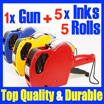New 1 x Price Pricing Tag Tag Gun Labeller +5 Rolls Labels + 5 x Inks