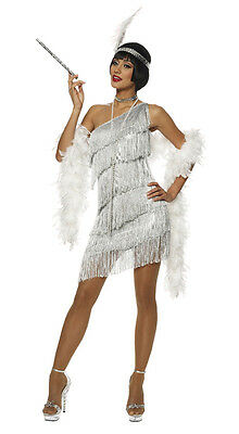 1920S Roaring 20's Adult Womens Silver Dazzling Flapper Gatsby Costume Dress