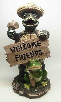 """Amphibian Turtle and Frog Best Friends Welcome Sign Figurine Home Decor 13.5""""H"""