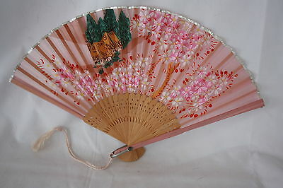 VINTAGE PAINTED SILK AND BAMBOO FOLDING JAPAN FAN FLOWERS AND HOUSE SCENES