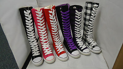 Kids Canvas Knee High Top Lace Up Boot Multi-Color