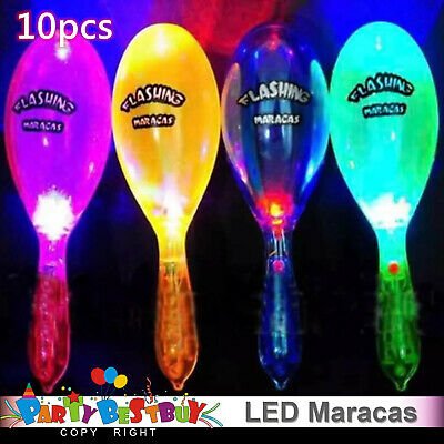 10x LED Maracas Flashing Lanyard Light Up Neon Shake Toy Cheering Party Concert