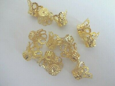 50x  Bright Gold Plated Basket Bell Bead Caps - 12mm  Beadcaps