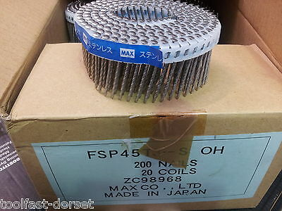 Max FSP45T3-S Stainless Steel Plastic Collated 15 Degree Coil Nails 2.1 x 45mm