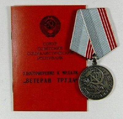 """Soviet Russian Medal """"Veteran of Labour"""" with document - Original"""