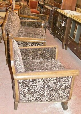 ANTIQUE SET 3 p SOFA + 2 ARMCHAIR ELBOW CHAIR NEWLY UPHOLSTERED VICTORIAN ERA