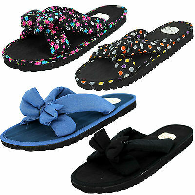 Ladies Spot On Fabric Bow Front Slip On Mules Flip Flop Summer Sandals £3.99