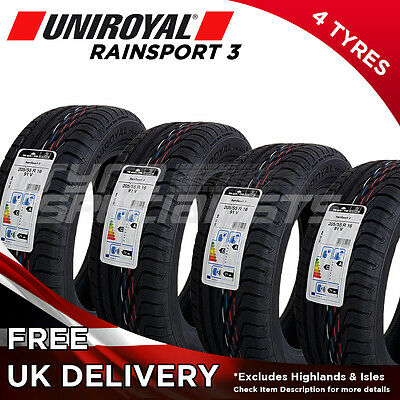 4x NEW 205 55 16 UNIROYAL RAINSPORT 3 205/55R16 91V (4 TYRES) MAX 'A' WET GRIP