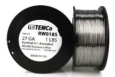 TEMCo Kanthal A1 wire 27 Gauge 1 lb (2040 ft) Resistance AWG A-1 ga