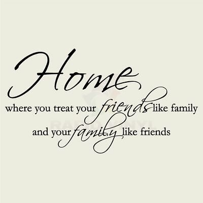 HOME FRIENDS FAMILY TREAT Wall Decal Wall Sticker Home and Living Wall Art Decal