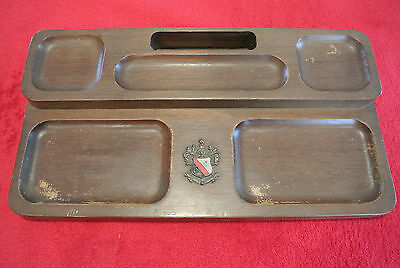 Vintage Shields Genuine Mahogany Tray Organizer Made in Japan Wood Ornate