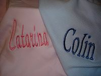 Personalized Blue or Pink  Cotton Baby Infant Toddler Blanket
