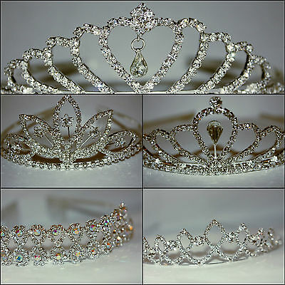 Princess Tiaras. Diamante, Bridal, Bridesmaid, Prom Tiaras, 5 Different Designs