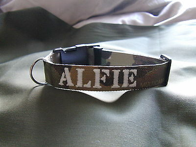 PERSONALISED EMBROIDERED 25mm WIDE  DOG COLLAR WITH GLOW IN THE DARK THREAD