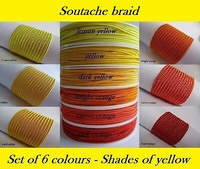 Soutache Braid Cord 6 colours x 1, 2 or 5 metres Shades of yellow 100% viscose