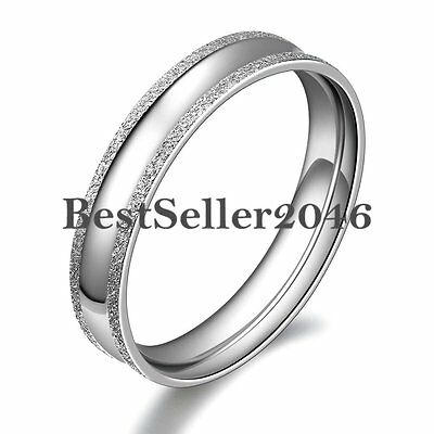 Frosted Edge Silver Tone Stainless Steel Engagement Wedding Promise Ring for Her