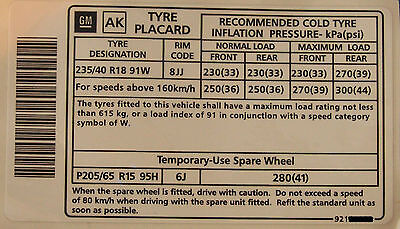 """Holden Commodore 18"""" Tyre Placard Label Decal VY VZ SS VT VX VS VR LS1 LS2 WH VU"""