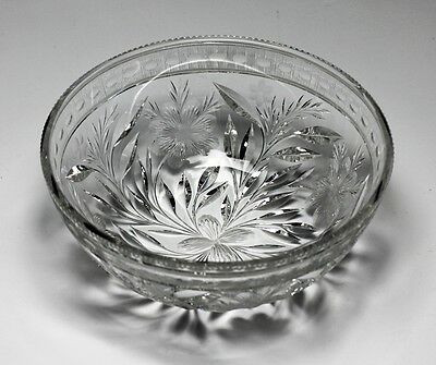American Cut Crystal Bowl - Deep cuts in a floral design, fine prism and notched