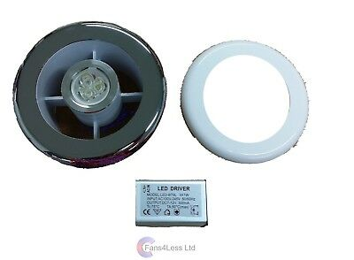"SL4WC 4"" 100mm Shower Light Bathroom Grille & Transformer Use with an Inline Fan"