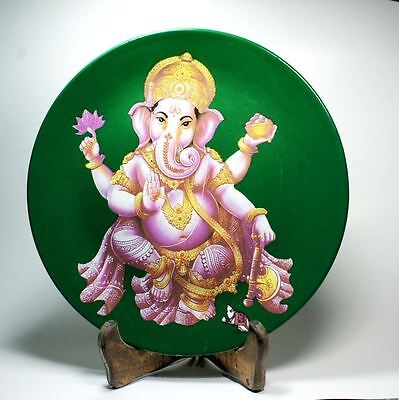 Lord Ganesh Ganesha Picture Ceramic Plate Plaque Hindu God Painting 24 Carat