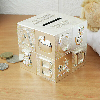 Engraved ABC Silver Plated Cube Money Box - Christening Baptism Gift Boy Girl