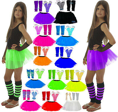 NEON TUTU SKIRT SET LEG WARMERS FISHNET GLOVES GIRLS PARTY 80's  fancy dress