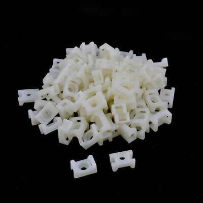 Off White Plastic 5mm Wire Buddle Cable Tie Mount Saddle 100pcs