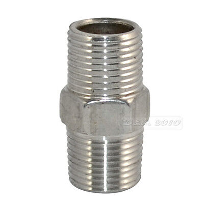 "3/8"" Male x 3/8""  Male Hex Nipple Stainless Steel 304 Threaded Pipe Fitting NPT"