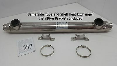 210,000 BTU Stainless Steel Tube and Shell w/ Same Side Ports for Pools/Spas