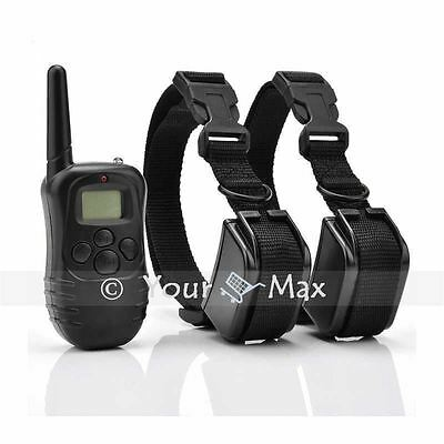 Rechargeable anti-bark LCD Electric Shock Remote collar Waterproof 2dog training