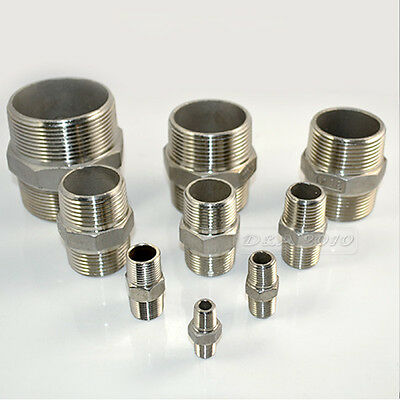 "1/8""-2""Male x  Male Hex Nipple Stainless Steel 304 Threaded Pipe Fitting NPT"