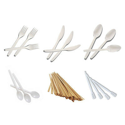 Disposable Wooden/Plastic Stirrers, Forks, Knives, Tea/Desert Spoons From £2.99