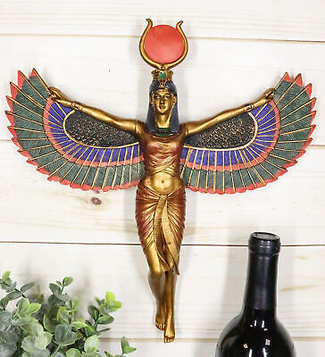 "Egyptian Mythology Goddess Isis with Open Wings Wall Plaque 11.5""H Home Decor"