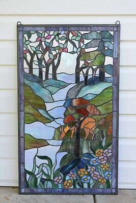 "20.5"" x 34.5"" Handcrafted stained glass window panel Deer Drinking Water"